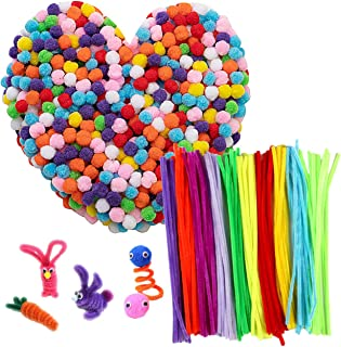 "1000pcs Multicolor Pom Poms with 100pcs Pipe Cleaners, Assorted Pompoms 0.5 Inch Mini Fuzzy Pompom Balls, 11.8"" Decoration Chenille Stems for Kids DIY Crafts Creative Children Hobby Supplies"