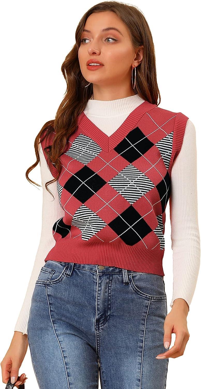 Allegra K Women's Knitted Tank Crop Top Sleeveless V Neck Argyle Sweater Vest
