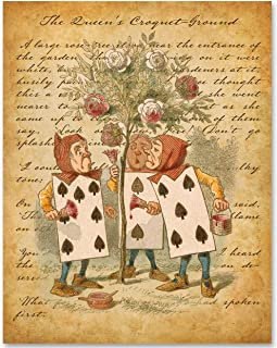 Alice in Wonderland - The Cards Painting the Roses - 11x14 Unframed Alice in Wonderland Print - Makes a Great Gift Under $15 for Disney Fans or Girl's Room