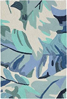 Liora Manne CAP23166803 Capri Classic Tropical Frond Palm Leaf Indoor/Outdoor Rug 2' X 3' Blue