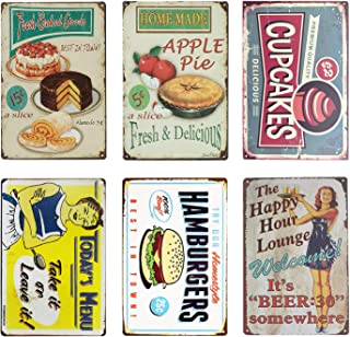 UNIQUELOVER Kitchen Metal Sign, Cakes, Apple Pie, Cupcakes, Hamburger, Happy Hour & Today's Menu Vintage Retro Food Tin Sign Wall Plaque Poster Decor 12 x 8 Inches /30 x 20cm