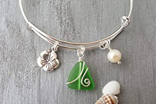 "product image for Handmade in Hawaii, wire wrapped Emerald sea glass bracelet,""May Birthstone"", Hibiscus charm, freshwater pearl, (Hawaii Gift Wrapped, Customizable Gift Message)"
