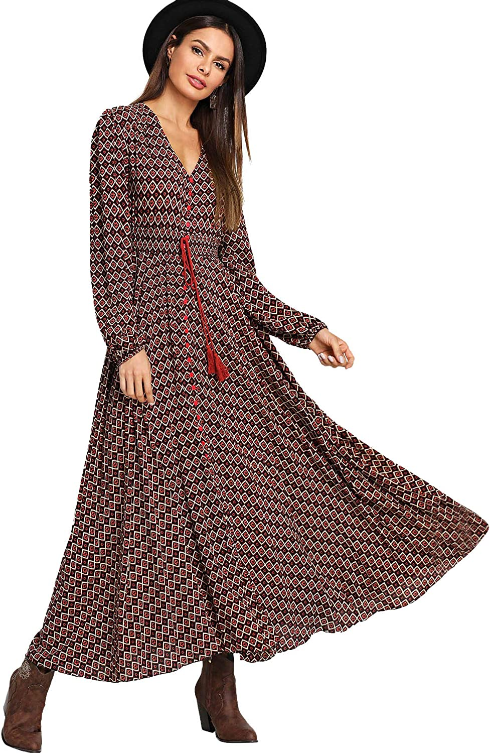 OMINA Womens Short Sleeve Wave Point Maxi Dress Long Fashion Casual Cocktail Party Dress Loose Fit