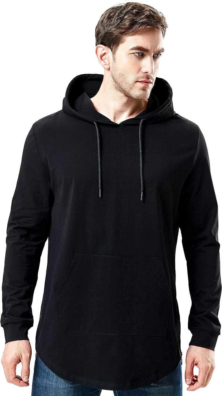 Spasm price Bertte Mens Hipster Hip Hop Elong Sh Longline Side Zipper Hoodie Selling rankings