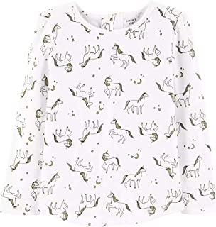 Gold Glitter Unicorn Stretch Shirt with Bow Accent