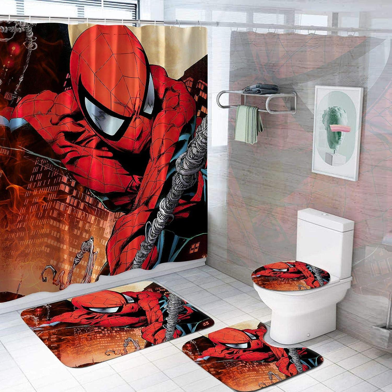 Iron Man Bathroom Rug Shower Curtain 4PCS Non-Slip Foot Mat Toilet Lid Cover Mat