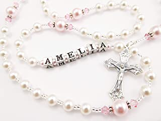 White and Pink Personalized Swarovski Pearl Rosary - Baptism, First Communion, Confirmation, Quinceanera Gift