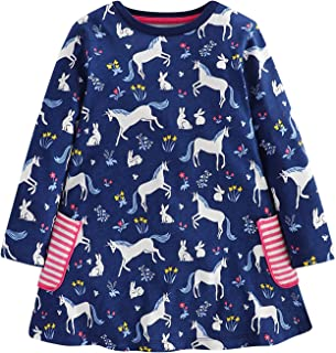 Toddler Girls Floral Printing Cotton Longsleeve Casual Dresses