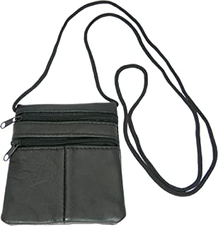 Small Soft Patchwork Leather Neck Purse/Pouch/ID Holder - 2 Zipped Compartments - 1 Transparent Window - BLACK LEATHER