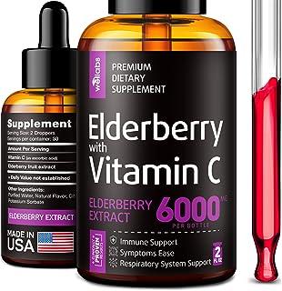Elderberry Syrup - Organic Elderberries Extract 6000mg - Immune Support Sambucus Elderberry Syrup - Formulated in USA - Bl...