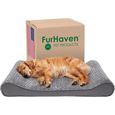 Furhaven Orthopedic, Cooling Gel, and Memory Foam Pet Beds for Small, Medium, and Large Dogs - Ergonomic Contour Luxe Lounger Dog Bed Mattress and More