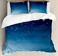 Ambesonne Night Duvet Cover Set, Ombre Inspired Sky with Vibrant Stars Universe Astronomy Exploration, Decorative 3 Piece Bedding Set with 2 Pillow Shams, Queen Size, Pale Blue
