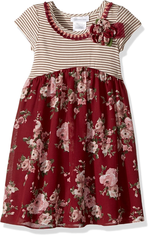 Bonnie Jean Girls' Knit to Challis Print Dress