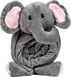 SNUGGIES Stuffed Animal Blanket and Plush Elephant Pillow, 2-in-1 Combo for Baby and Toddler Comfort, Warm, Breathable Fabric and Portable, Travel Friendly Design, Unisex for Boys or Girls