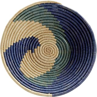 Ten Thousand Villages Raffia and Palm Leaves Basket 'Blue Spell Basket'