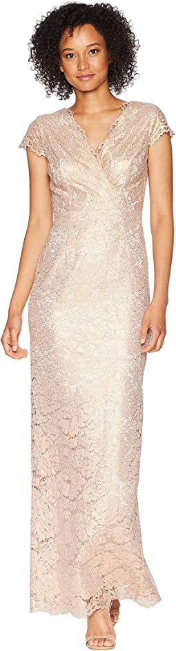 Short Sleeve Beaded Lace Gown with Scattered Beads