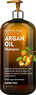 Majestic Pure Argan Oil Shampoo - Vitamin Enriched Gentle Hair Restoration Formula for Daily Use, Sulfate Free, for All Ha...