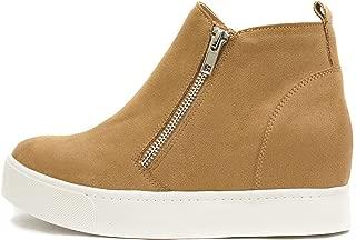 SODA Taylor Hidden Wedge Booties Fahsion Sneaker Shoes Side Zipper