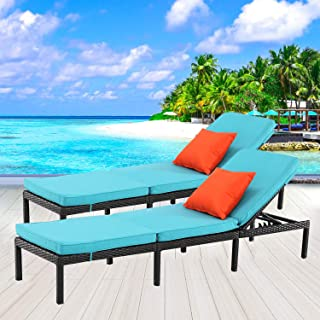 HTTH 2pcs Rattan Chaise Lounge Outdoor Patio Chairs All-Weather Sun Chaise Lounge Furniture for Backyard, Pool (503-EXP-TRQ)