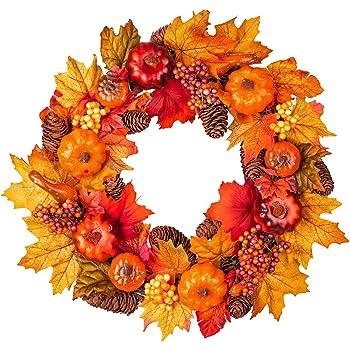 Fall Wreath Front Door Wreath with Maple Leaf,Pumpkin, Pine Cone,Berries Garland Harvest Wreath for Halloween and Thanksgiving Home Indoor or Outdoor Arrangement Decoration,15inch