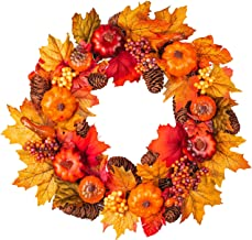 Fall Wreath Front Door Wreath with Maple Leaf,Pumpkin, Pine Cone,Berries Garland Harvest Wreath for Halloween and Thanksgi...