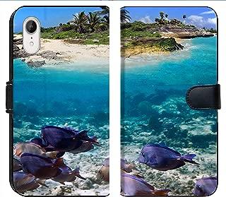 Apple iPhone XR Flip Fabric Wallet Case Image of Reef Underwater Ocean Fish Water sea Coral Nature Tropical Exotic Scuba Marine Diving Animal Wildlife
