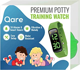 Premium Potty Training Watch - Only Watch with Multiple Alarms (16) to Fit Your Schedule & Hassle Free Smart Timer - Water Resistant - Both Vibration & Music - Kids Lock - Touchscreen-Easy Use (Green)