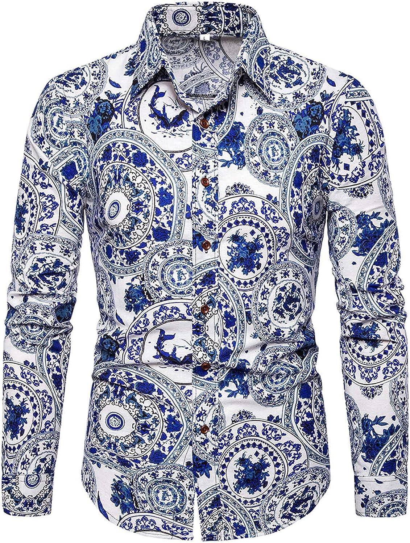 Men Vintage Long Sleeve Button Down Shirt Casual Leopard Print Shirt Turn-Down Collar Tops Fashion Vacation Shirt Tops
