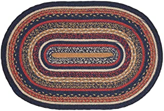 VHC Brands Stratton Jute Oval Rug 20x30 Country Braided Flooring, Navy and Red