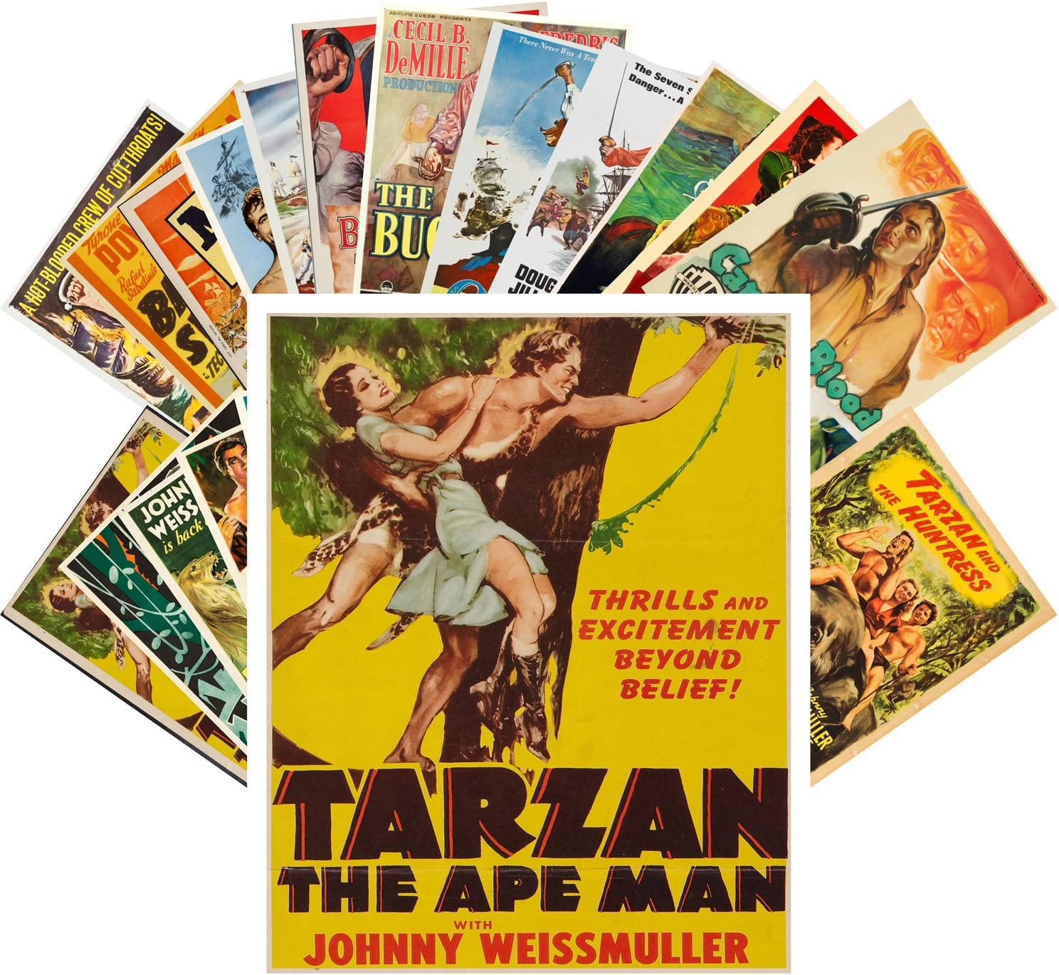 Postcard Set 24pcs Tarzan Directly managed store and Vintage Pirates Posters Ads Cheap mail order specialty store Movie