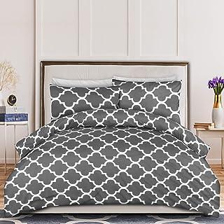 Utopia Bedding Housse de Couette 230x220 cm avec 2 Taies d'oreiller 50x75 cm - Gris Parure de Lit 2 Personnes - Sets de Ho...