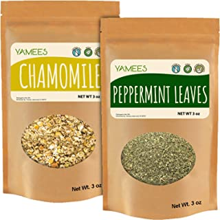Yamees Chamomile and Peppermint - Dried Cut Leaves - Natural Herbal Tea - Loose Tea - Bulk Spices - 2 Pack of 3 oz Each