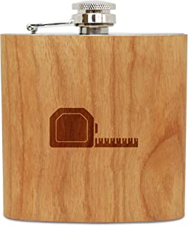 WOODEN ACCESSORIES COMPANY Cherry Wood Flask With Stainless Steel Body - Laser Engraved Flask With Tape Measure Design - 6 Oz Wood Hip Flask Handmade In USA