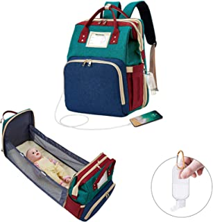 Diaper Bag Backpack with Bassinet,Travel Foldable Baby Bed Crib Changing Station Waterproof Mummy Bag with USB Charge,Newb...