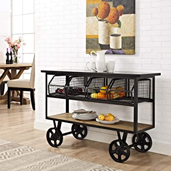 Modway Fairground Rustic Farmhouse and Steel Rolling Cart Kitchen Serving Stand in Brown