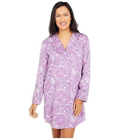 LAUREN Ralph Lauren Sateen Woven Long Sleeve Notch Collar Sleepshirt (Purple Print) Women