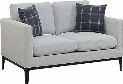 Benjara Fabric Upholstered Metal Loveseat with Reversible Seat Cushions, Gray