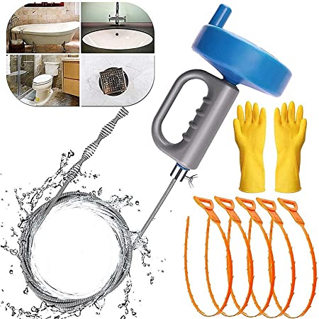 Drain Snake,Clogged Drain Cleaning Spring -Drain Auger Clog Remover Use For most of The Clogged Sewers//Bathtub Drain//Kitchen Sink Open,Drain Clog Remover with Work Gloves and Storage Bag Blue 25ft