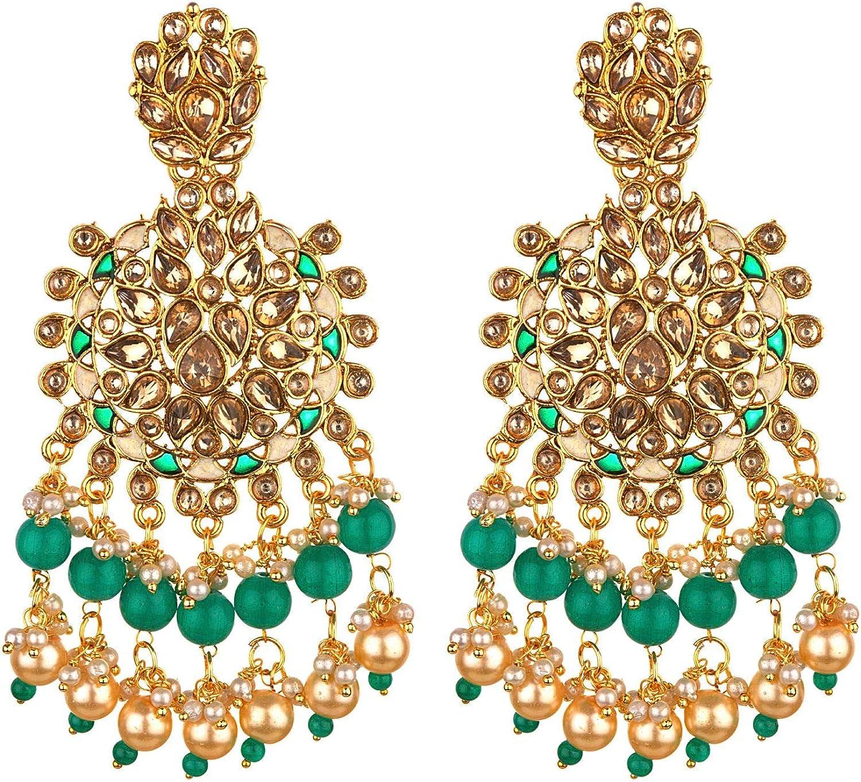 Efulgenz Indian Bollywood 14 K Gold Plated Faux Pearl Crystal Kundan Rhinestone Wedding Bridal Chandelier Earrings Jewelry Set