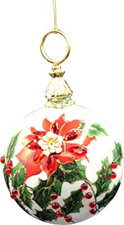 One Hundred 80 Degrees Blown Glass Holiday Foliage Ball Hanging Ornament 6 Inches Tall 3.75 Inch Diameter (Poinsettia)