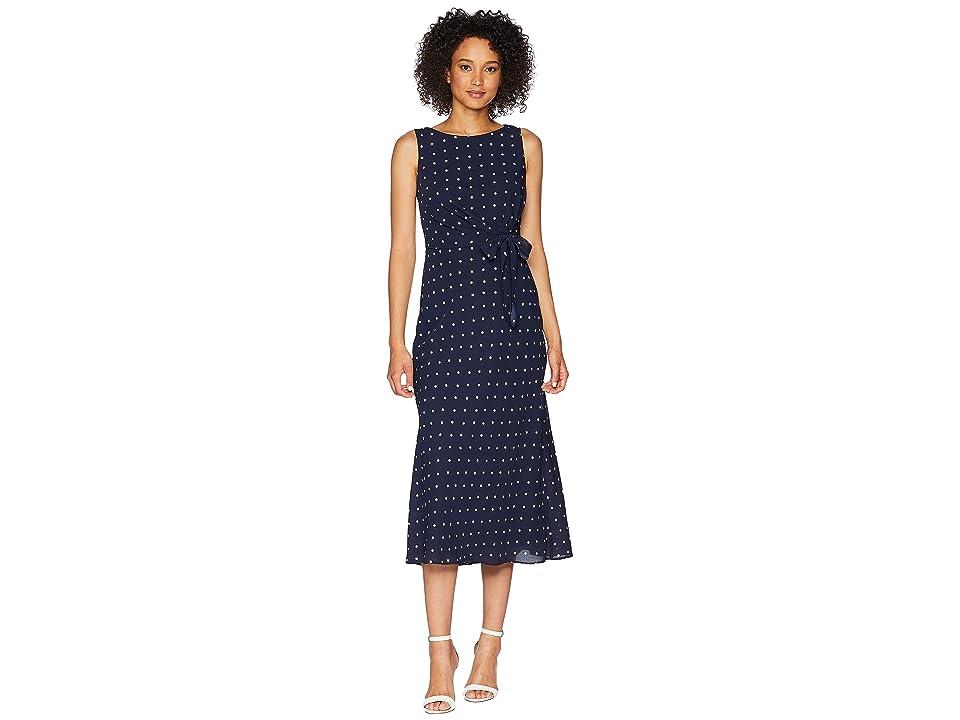 LAUREN Ralph Lauren Tomara Sleeveless Day Dress (Lighthouse Navy/Colonial Cream) Women