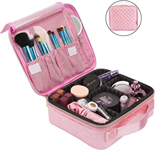 NiceEbag Travel Makeup Bag Cosmetic Bag for Women Girls Professional Train Case Nylon Cosmetic Storage Organizer with Removable Dividers for Cosmetics Make Up Tools,Large & Cute & DIY,Rose Gold Square