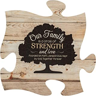P. Graham Dunn Our Family Tree On Faded Wood Look 12 x 12 Wall Hanging Puzzle Piece Plaque