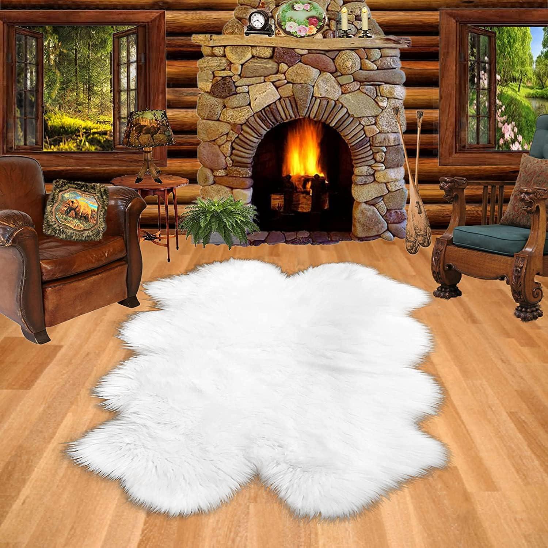 Shaggy Rug White Faux Fur Ranking TOP9 Accent cheap P Sheepskin Quad Quatro