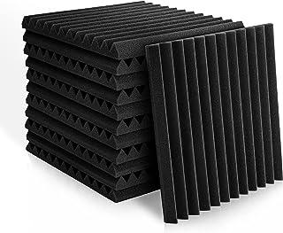 Paneles de espuma acústica de 2,5 x 30,5 x 30,5 cm, azulejos de cuña de estudio, paneles de sonido, cuñas de aislamiento a...