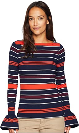 Petite Striped Bell-Cuff Top