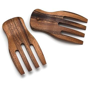 "Lipper International Acacia Salad Hands, 3.75"" x 7"" x 1.88"", One Pair"