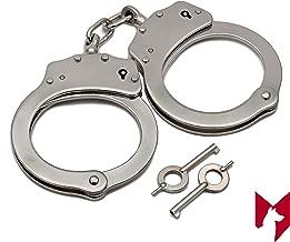 Foxfend Double Locked Chain Handcuffs - Police Edition Professional Grade Heavy Duty Steel W/Two Keys