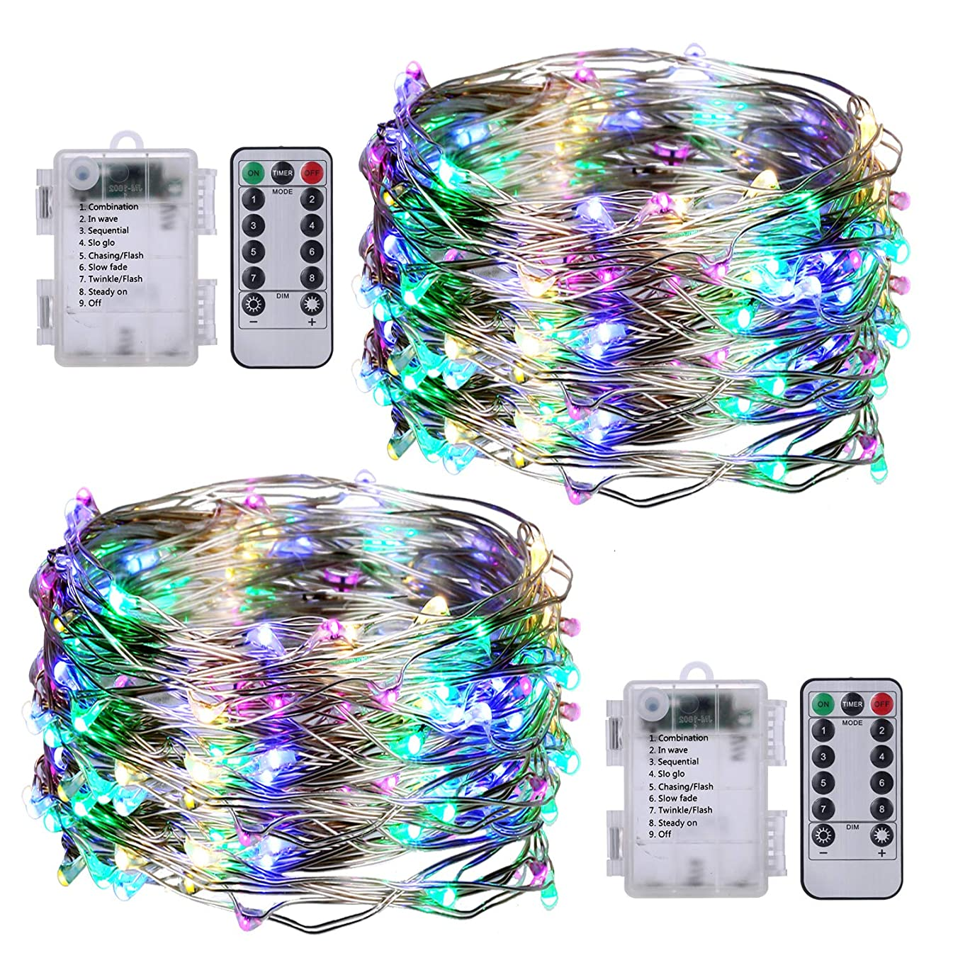 PSG 2 Pack LED String Lights 33ft with 100 LED, Multi Color Changing String Lights with Remote Control, Waterproof Outdoor & Indoor Decorative Lights for Bedroom, Garden, Patio, Parties