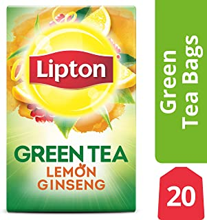 Lipton Green Tea Bags, Lemon Ginseng, 20 ct